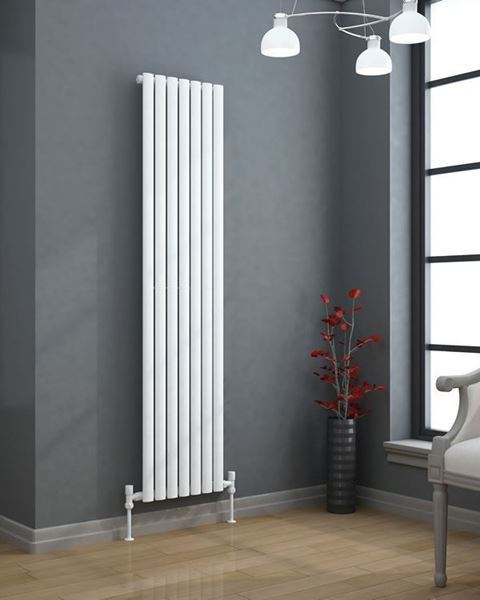 VERTICA 1500x420mm Tall Designer Radiator Oval Tube White Single