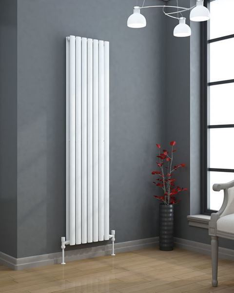 VERTICA 1500x420mm High Heat Output Designer Radiator White Double