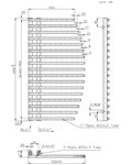 BESLANO Anthracite Towel Radiator Technical Drawing