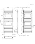HERSA Designer Anthracite Towel Radiator Technical Drawing