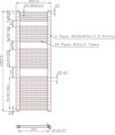 400mm Wide 1150mm High Anthracite Towel Radiator Technical Drawing