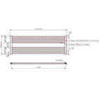 1200mm Wide 400mm High Anthracite Towel Radiator Technical Drawing