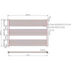 1200mm Wide 800mm High Anthracite Towel Radiator Technical Drawing