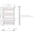 SONAVA 500mm Wide 800mm High Chrome Designer Towel Radiator Technical Drawing