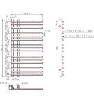 KETYA 500mm Wide 900mm High Chrome Designer Towel Radiator Technical Drawing