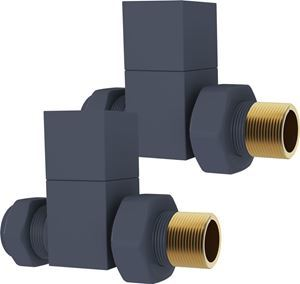 Anthracite Square STRAIGHT Radiator Valves - Pair