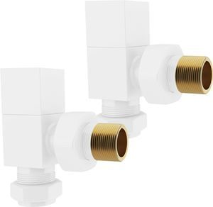 White Square ANGLED Radiator Valves - Pair