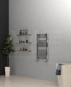 Picture of 400mm Wide 842mm High Chrome Flat Towel Radiator