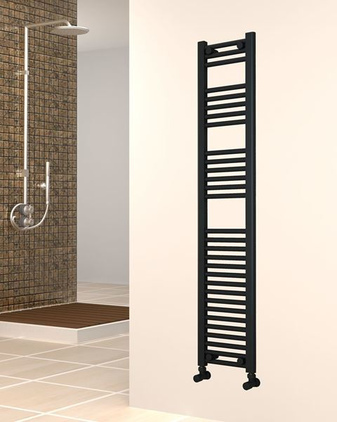 Gloss Black Towel Radiator - 300mm Wide 1500mm High