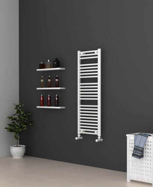 Picture of White Bathroom Towel Rail  400mm Wide 1150mm High