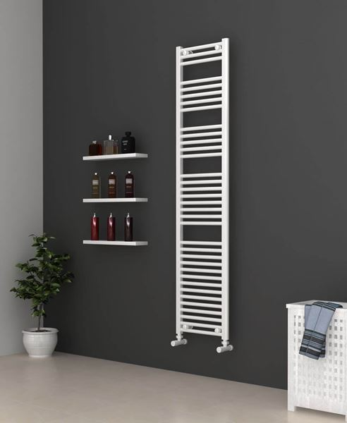 Picture of White Bathroom Towel Rail 400mm Wide 1750mm High
