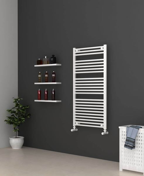 Picture of White Bathroom Towel Rail  600mm Wide 1150mm High