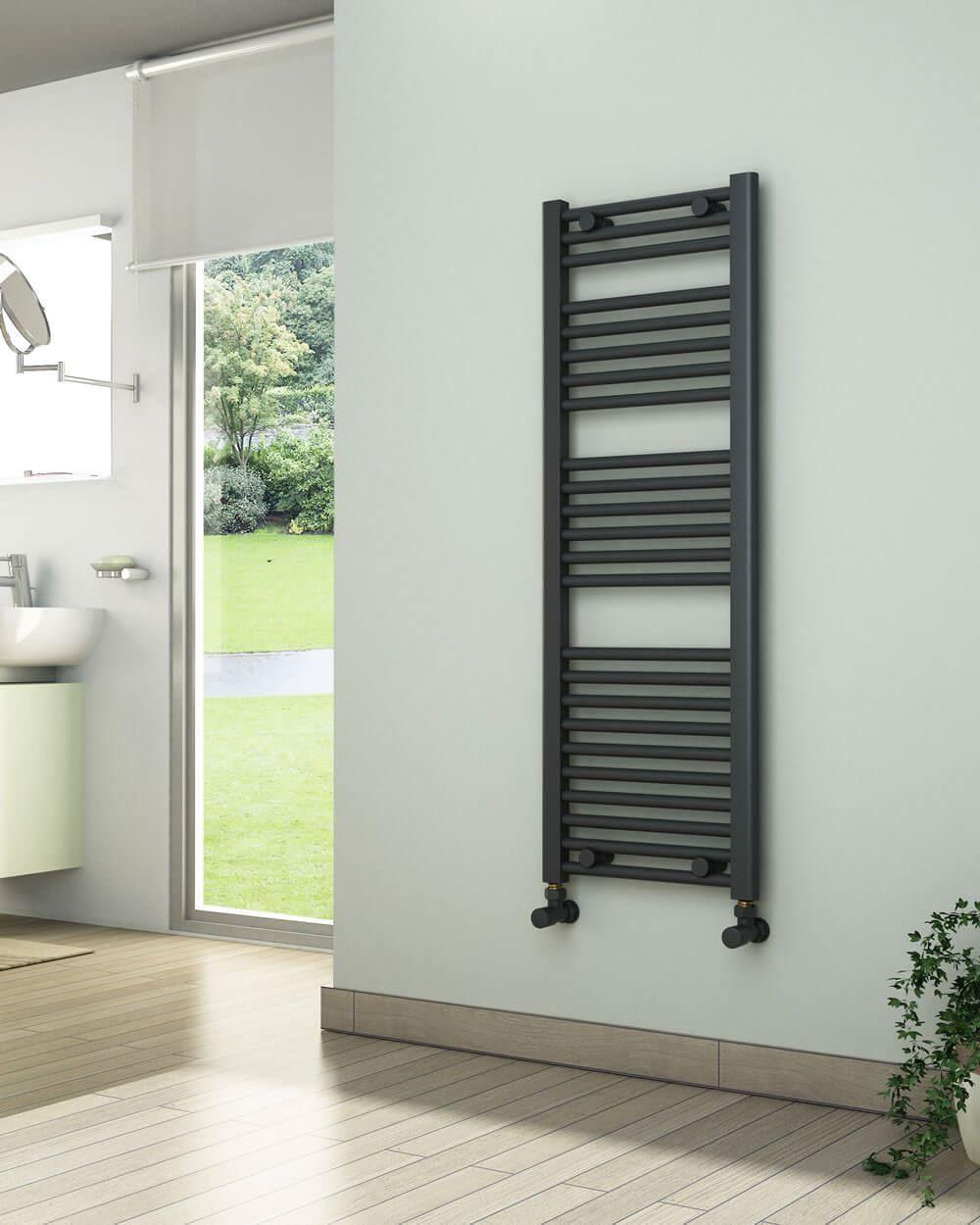 400mm Wide 1150mm High White Flat Towel Radiator - by ADIGE
