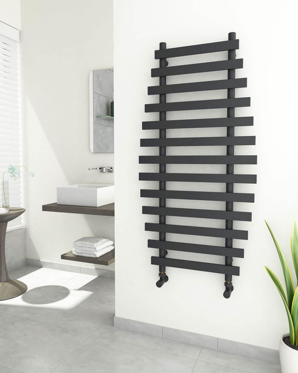 DIVERI Anthracite Bathroom Towel Radiator 600mm Wide ...