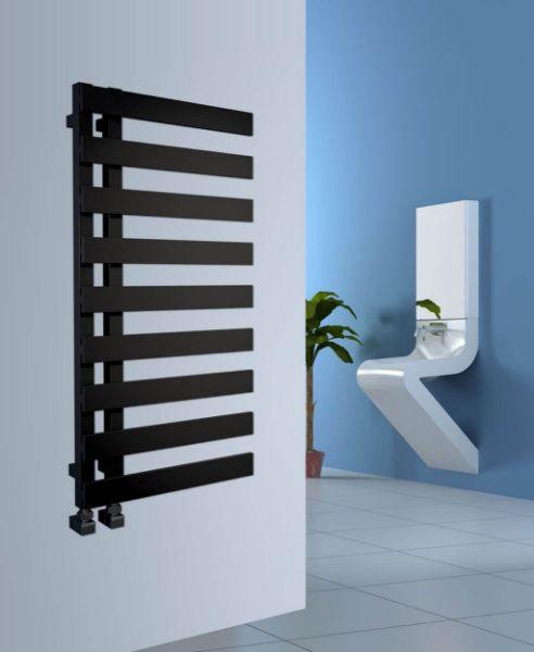 Picture of EMRENO Gloss Black Designer Towel Radiator - 500mm Wide 1232mm High
