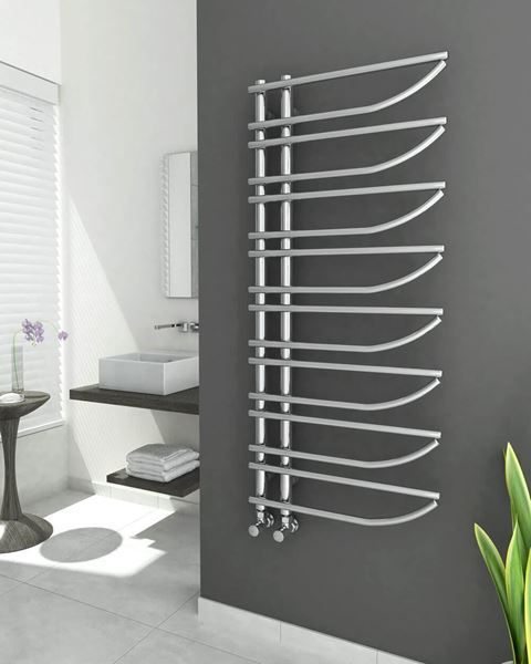 Picture of ENZANA Designer Chrome Towel Radiator - 550mm Wide 1250mm High