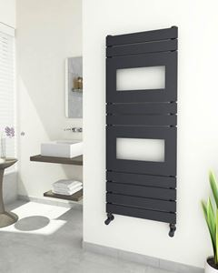 Picture of HERSA Designer Anthracite Towel Radiator - 500mm Wide 1288mm High