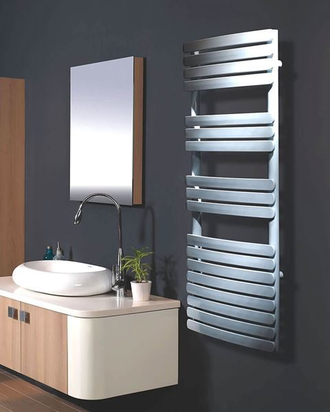 Picture of KOCA 500mm Wide 1200mm High White Curved Designer Towel Radiator