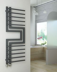 Picture of SLIZZA Designer Anthracite Towel Radiator - 500mm Wide 1300mm High