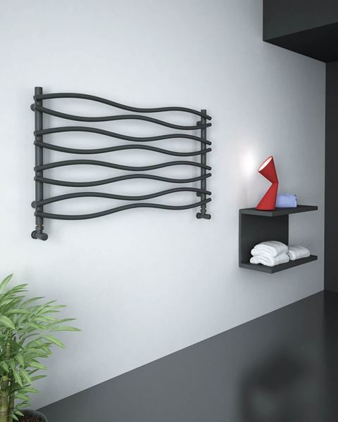 Picture of WAVE Anthracite Designer Towel Radiator - 1200mm Wide 635mm High