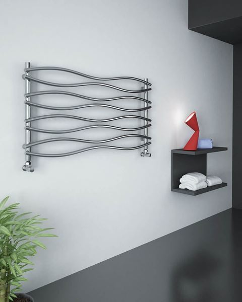 Picture of WAVE Chrome Designer Towel Radiator - 1200mm Wide 635mm High