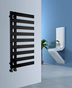 Picture of EMRENO Gloss Black Designer Towel Radiator - 500mm Wide 800mm High