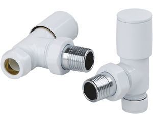 Picture of White ANGLED Radiator Valves - Pair