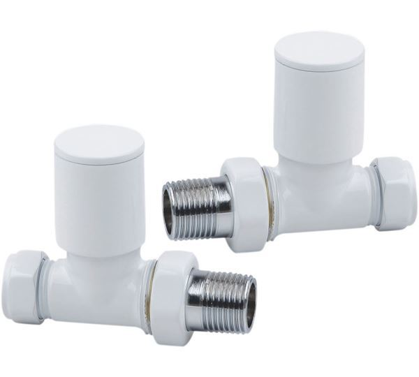 Picture of White STRAIGHT Radiator Valves - Pair