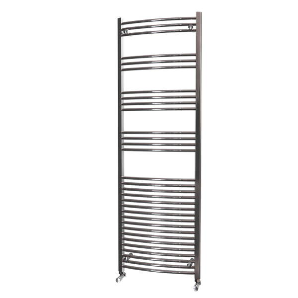 Picture of 600mm Wide 1800mm High Chrome Curved Towel Radiator