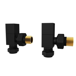 Picture of Black Square ANGLED Radiator Valves