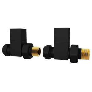 Picture of Black Square STRAIGHT Radiator Valves