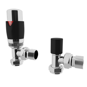 Picture of Thermostatic Black Angled Radiator Valve Set