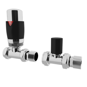Picture of Thermostatic Black Straight Radiator Valve Set