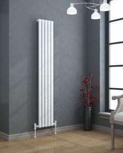 VERTICA 300mm Wide 1500mm High Oval Tube Designer Radiator White Single Panel
