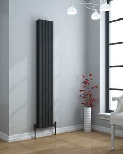 VERTICA 1600x406mm Anthracite Double Oval Tube Vertical Radiator
