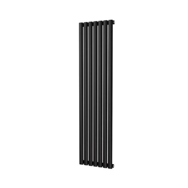 VERTICA 1600x406mm Black Single Oval Tube Vertical Radiator