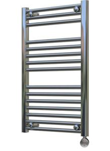 Picture of 500mm Wide 750mm High Chrome Flat Pre-Filled Electric Towel Rail - Thermostatic