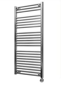 Picture of 500mm Wide 1150mm High Chrome Flat Pre-filled Electric Towel Rail  - Thermostatic
